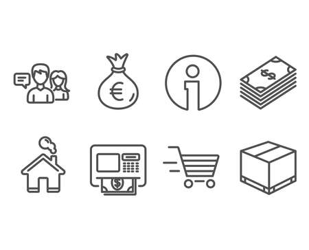 Set of Dollar, Money bag and Delivery shopping icons. People talking, Atm and Delivery box signs. Usd currency, Euro currency, Online buying. Contact service, Money withdraw, Cargo package. Vector
