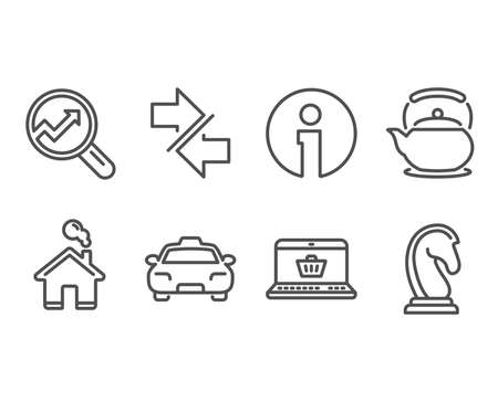 Set of Analytics, Taxi and Teapot icons. Synchronize, Online shopping and Marketing strategy signs. Audit analysis, Passengers transport, Tea kettle. Vector Çizim