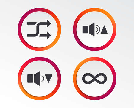 Player control icons. Sound louder and quieter signs. Dynamic symbol. Shuffle random and repeat loop. Infographic design buttons. Circle templates. Vector