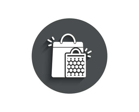 Shopping bags simple icon. Sale Marketing symbol. Special offer sign. Circle flat button with shadow. Vector