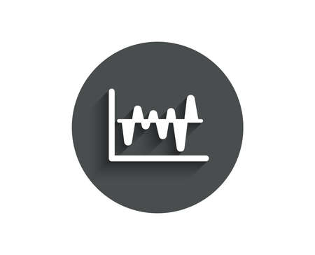 Investment chart simple icon. Economic graph sign. Stock exchange symbol. Business finance. Circle flat button with shadow. Vector