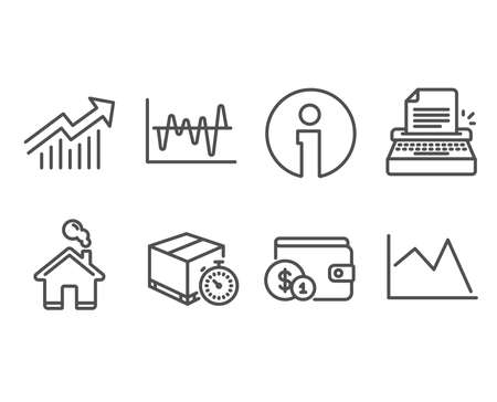 Set of Stock analysis, Delivery timer and Typewriter icons. Demand curve, Buying accessory and Line chart signs. Business trade, Express logistics, Writer machine. Vector Illustration