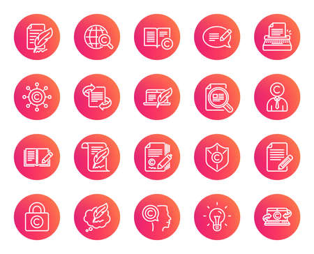 Copywriting line icons. Set of Ð¡opyright protection, Signature and Feedback signs. Typewriter, Idea and Speech bubble message symbols. Trendy gradient circle buttons. Quality design elements. Vector