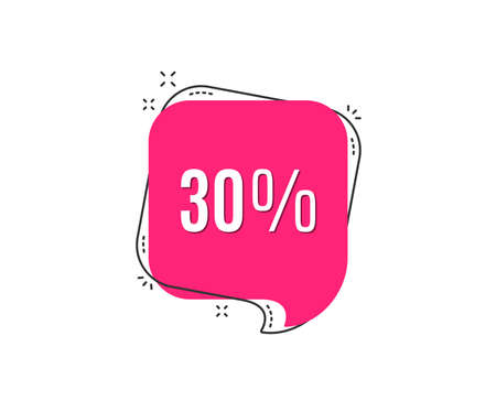 30% off Sale. Discount offer price sign. Special offer symbol. Speech bubble tag. Trendy graphic design element. Vector