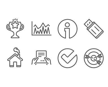 Set of Investment, Usb flash and Verify icons. Receive file, Victory and Targeting signs. Economic statistics, Memory stick, Selected choice. Hold document, Championship prize, Target with arrows
