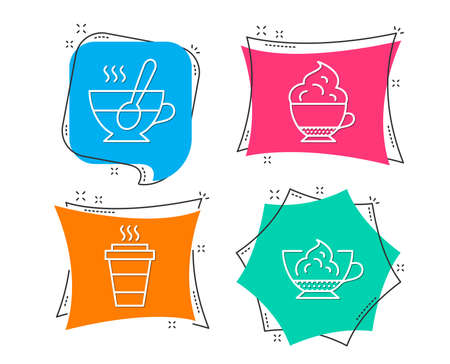Set of Takeaway, Cappuccino cream and Tea cup icons. Espresso cream sign. Takeout coffee, Coffee with spoon, Cafe con panna.  Flat geometric colored tags. Vivid banners. Trendy graphic design. Vector