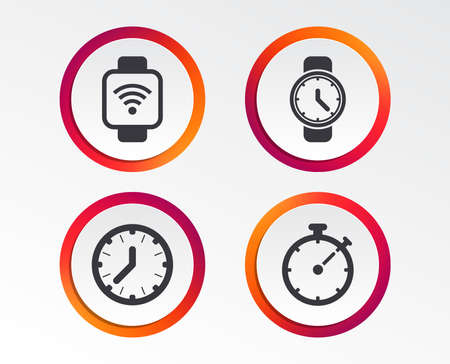 Smart watch wi-fi icons. Mechanical clock time, Stopwatch timer symbols. Wrist digital watch sign. Infographic design buttons. Circle templates. Vector