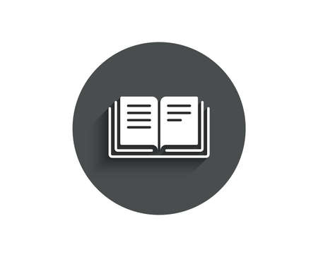 Book simple icon. Education symbol. Instruction or E-learning sign. Circle flat button with shadow. Vector