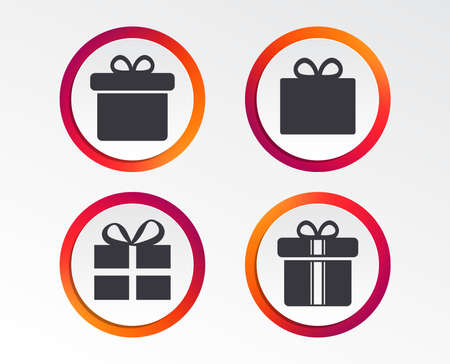 Gift box sign icons. Present with bow and ribbons sign symbols. Infographic design buttons. Circle templates. Vector