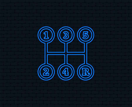 Neon light. Manual transmission sign icon. Automobile mechanic control symbol. Glowing graphic design. Brick wall. Vector