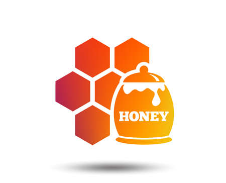 Honey in pot and honeycomb sign icon. Honey cells symbol. Sweet natural food. Blurred gradient design element. Vivid graphic flat icon. Vector Illustration