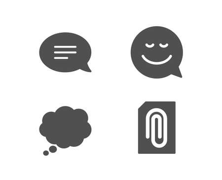 Set of Smile, Chat and Comic message icons. Attachment sign. Chat emotion, Speech bubble, Attach document.  Quality design elements. Classic style. Vector