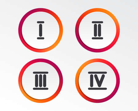 Roman numeral icons. 1, 2, 3 and 4 digit characters. Ancient Rome numeric system. Infographic design buttons. Circle templates. Vector