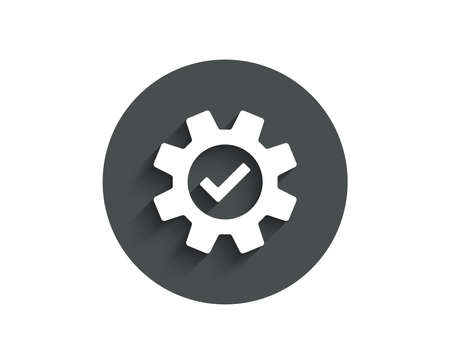 Cogwheel simple icon. Approved Service sign. Transmission Rotation Mechanism symbol. Circle flat button with shadow. Vector