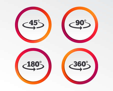 Angle 45-360 degrees icons. Geometry math signs symbols. Full complete rotation arrow. Infographic design buttons. Circle templates. Vector 向量圖像