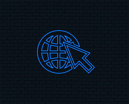 Neon light. Internet sign icon. World wide web symbol. Cursor pointer. Glowing graphic design. Brick wall. Vector Illustration
