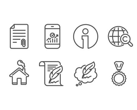 Set of Feather, International Сopyright and Smartphone statistics icons. Attachment, Сopyright chat and Medal signs. Copyright page, World copywriting, Mobile business. Vector