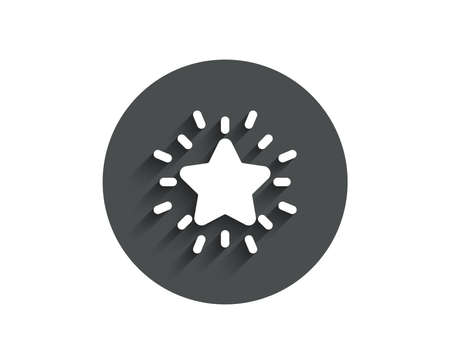 Rank star simple icon. Success reward symbol. Best result sign. Circle flat button with shadow. Vector Çizim