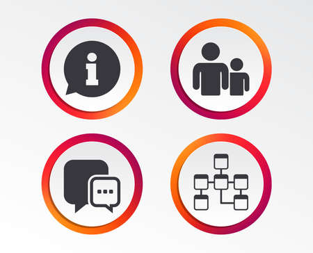 Information sign. Group of people and database symbols. Chat speech bubbles sign. Communication icons. Infographic design buttons. Circle templates. Vector  イラスト・ベクター素材