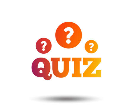 Quiz with question marks sign icon. Questions and answers game symbol. Blurred gradient design element. Vivid graphic flat icon. Vector