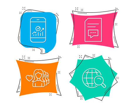 Set of Smartphone statistics, Woman love and Comments icons. Internet search sign. Mobile business, Romantic people, Document with speech bubble. Web finder.  Flat geometric colored tags. Vector Illusztráció