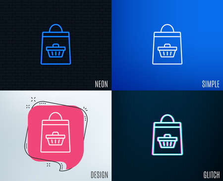 Glitch, Neon effect. Shopping bag with cart line icon. Supermarket buying sign. Sale symbol. Trendy flat geometric designs. Vector
