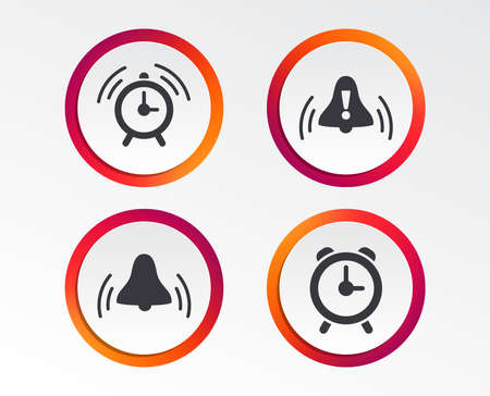 Alarm clock icons. Wake up bell signs symbols. Exclamation mark. Infographic design buttons. Circle templates. Vector