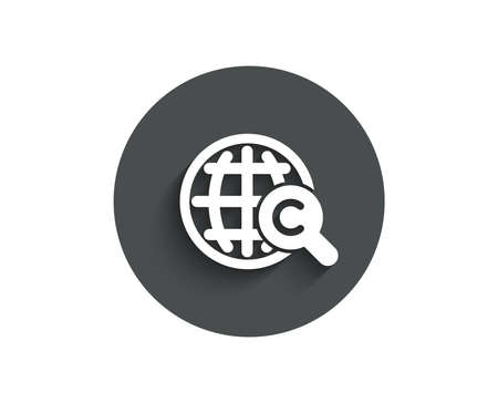 International Сopyright simple icon. Copywriting sign. World symbol. Circle flat button with shadow. Vector
