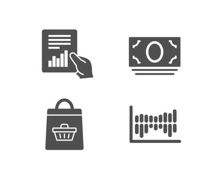Set of Online buying, Document and Cash money icons. Column diagram sign. Shopping cart, File with diagram, Banking currency. Sale statistics.  Quality design elements. Classic style. Vector Illustration