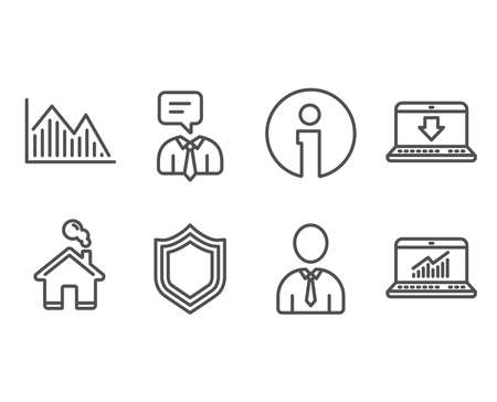 Set of Human, Investment graph and Support service icons. Internet downloading, Security and Online statistics signs. Person profile, Investment infochart, Human talking. Vector