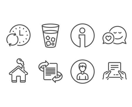 Set of Marketing, Person and Ice tea icons. Dating, Update time and Receive file signs. Article, Edit profile, Soda beverage. Love messenger, Refresh clock, Hold document. Vector