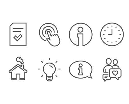 Set of Clock, Light bulb and Checked file icons. Information, Click and Dating chat signs. Time or watch, Lamp energy, Correct document. Info center, Cursor pointer, People love. Vector Çizim