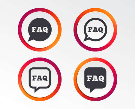 FAQ information icons. Help speech bubbles symbols. Circle and square talk signs. Infographic design buttons. Circle templates. Vector