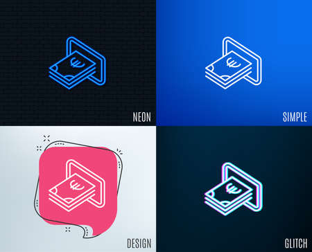 Glitch, Neon effect. Cash money line icon. Banking currency sign. Euro or EUR symbol. Trendy flat geometric designs. Vector