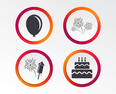 Birthday party icons. Cake and gift box signs. Air balloon and fireworks symbol. Infographic design buttons. Circle templates. Vector Illustration