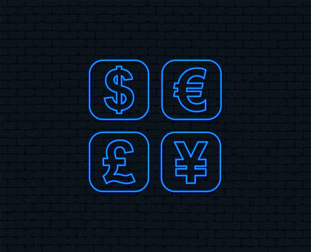 Neon light. Currency exchange sign icon. Currency converter symbol. Money label. Glowing graphic design. Brick wall. Vector Illustration