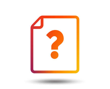 File document help icon. Question mark symbol. Blurred gradient design element. Vivid graphic flat icon. Vector 일러스트