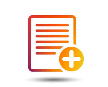 Text file sign icon. Add File document symbol. Blurred gradient design element. Vivid graphic flat icon. Vector Illustration