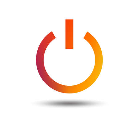 Power sign icon. Switch on symbol. Turn on energy. Blurred gradient design element. Vivid graphic flat icon. Illusztráció