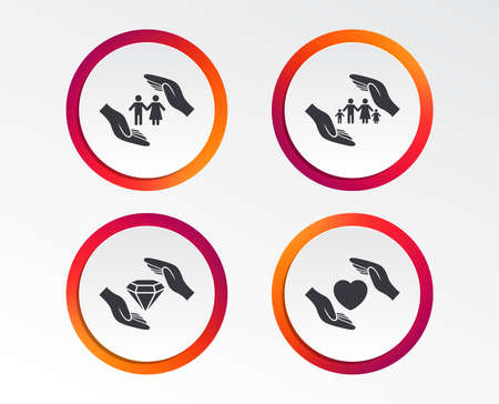 Hands insurance icons. Couple and family life insurance symbols. Heart health sign. Diamond jewelry symbol. Infographic design buttons. Circle templates. Vector