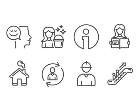 Set of Engineer, Cleaning and Person info icons. Woman read, Good mood and Escalator signs. Worker profile, Maid service, Refresh user data. Girl studying, Positive thinking, Elevator. Vector