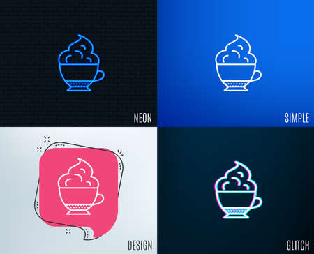 Glitch, Neon effect. Cappuccino coffee with Whipped cream icon. Hot drink sign. Beverage symbol. Trendy flat geometric designs.