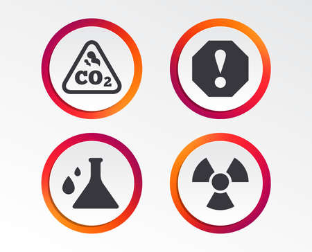 Attention and radiation icons. Chemistry flask sign. CO2 carbon dioxide symbol. Infographic design buttons. Circle templates.