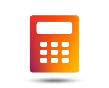 Calculator sign icon. Bookkeeping symbol. Blurred gradient design element. Vivid graphic flat icon. Illustration