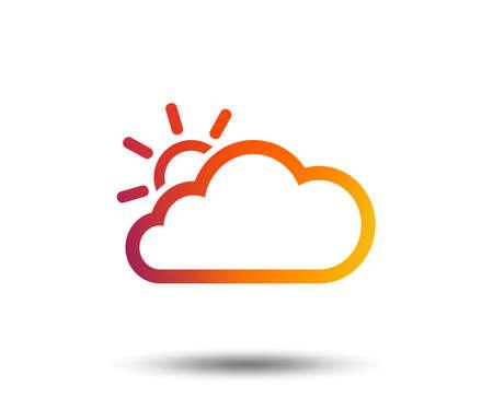 Cloud and sun sign icon. Weather symbol. Blurred gradient design element. Vivid graphic flat icon. Illustration