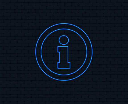 Neon light. Information sign icon. Info symbol. Glowing graphic design. Brick wall.