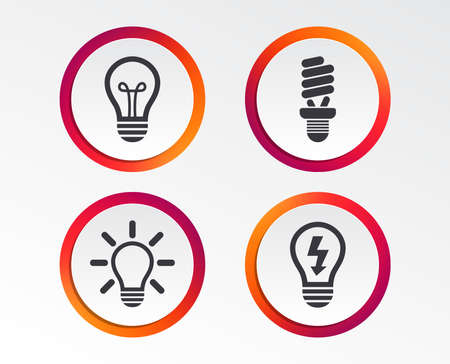 Light lamp icons. Fluorescent lamp bulb symbols. Energy saving. Idea and success sign. Infographic design buttons. Circle templates.