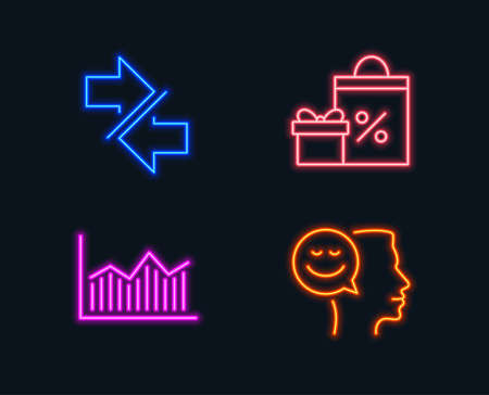 Neon Lights Set Of Shopping Synchronize And Money Diagram Icons