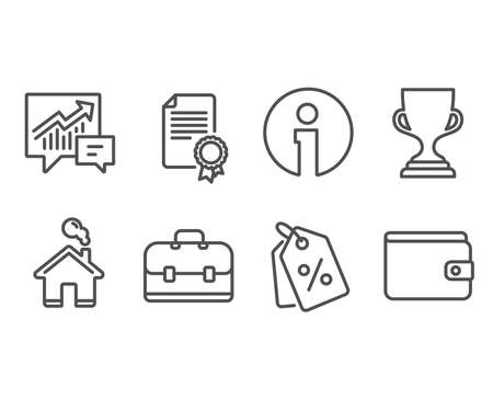 Set of Award cup, Portfolio and Certificate icons. Discount tags, Accounting and Money wallet signs. Trophy, Business case, Diploma. Sale coupons, Supply and demand, Payment method. Illustration