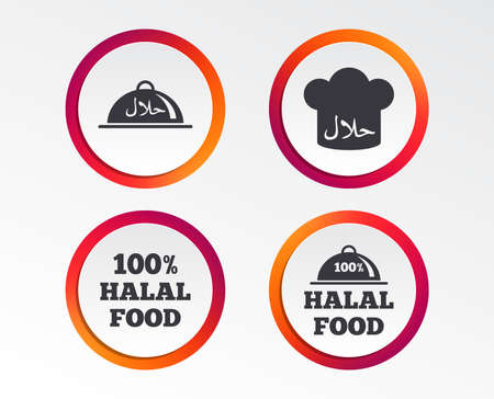 Halal food icons. 100% natural meal symbols. Chef hat sign. Natural muslims food. Infographic design buttons. Circle templates.